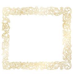 golden frame floral ornament vector image