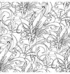 Graphic lilies pattern vector