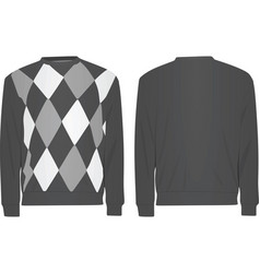 Gray sweater with argyle pattern vector