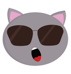 grey cat with sunglasses on white background vector image
