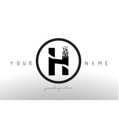 H logo letter with digital pixel tech design vector