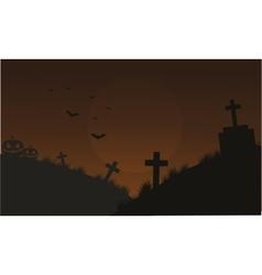 Halloween pumpkins and bat in tomb vector