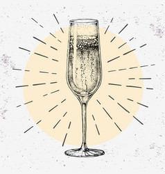 Hand drawing champagne glass on grunge background vector