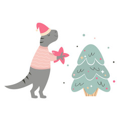 Hand drawn holiday t rex decorating christmas tree vector