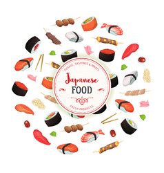 healthy japanese food background vector image