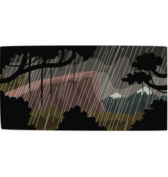 Heavy rain in tropical jungle greenwood vector
