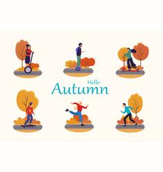 Hello autumn set vector