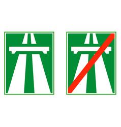 Highway sign motorway end vector