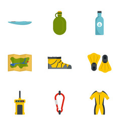 hiking icon set flat style vector image