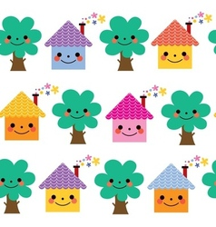 Houses and trees kids pattern vector