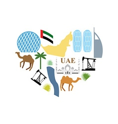 I love UAE Symbol Heart attractions of United Arab vector