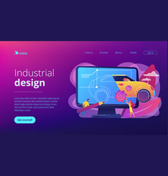 Industrial design concept landing page vector
