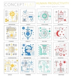Infographics mini concept Human productivity icons vector