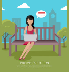 internet addiction banner vector image