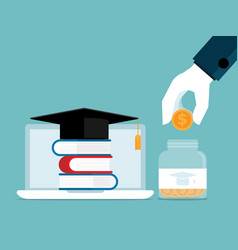 invest in education human hand putting coin into vector image