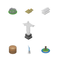 isometric architecture set of athens rio england vector image