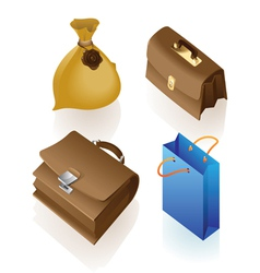 Isometric icon of various bags vector