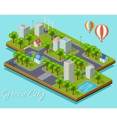 Isometric Isolated Green City Concept vector