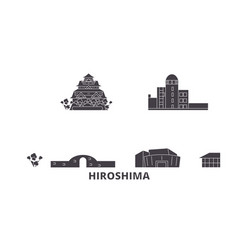 Japan hiroshima flat travel skyline set japan vector