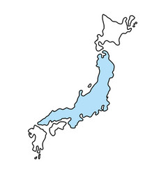 Japan map silhouette vector