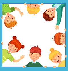 kids looking out from square frame children vector image