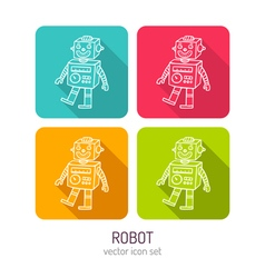 Line art vintage toy robot icon set in four color vector