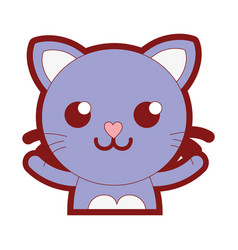 Line color smile cat adorable feline animal vector