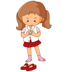 Little girl getting dress on white background vector