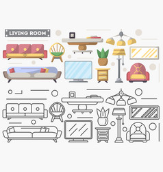 Living room furniture set in flat style vector