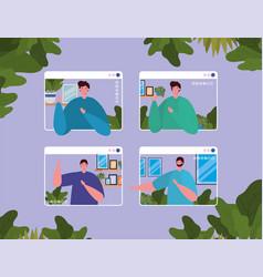 Men avatars on websites in video chat vector