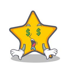 Money eye star character cartoon style vector