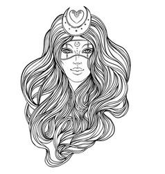 Moon princess tribal fusion boho diva beautiful vector