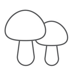 mushroom thin line icon food and vegetarian vector image