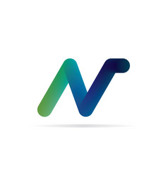 n letter logo 3d initial logo template vector image