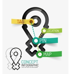 Navigation infographic keywords line style vector