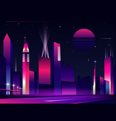 night city silhouette in neon glowing colors vector image
