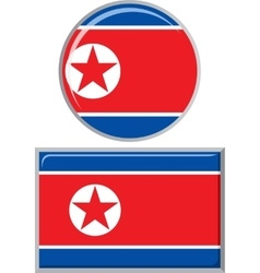 North Korea round and square icon flag vector image