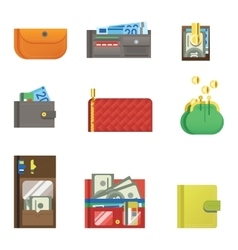 Open purse wallet set vector