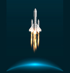 Orbital spacecraft in outer space with engines vector