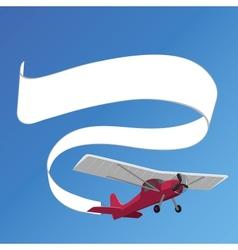 Plane pulling white banner vector