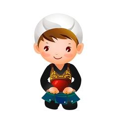 Portrait of a boy wearing kendo uniform vector