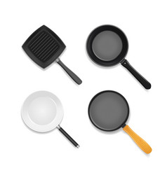 realistic 3d detailed frying pan set vector image