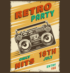 retro party poster with tape recorder vector image