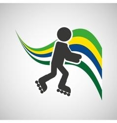 Roller skate sportsman flag background design vector