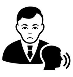 Sad psychotherapist visit black icon vector