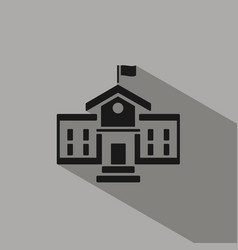 school building icon with shadow on grey vector image