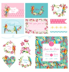 Scrapbook Design Elements Wedding Tropical Flowers vector image