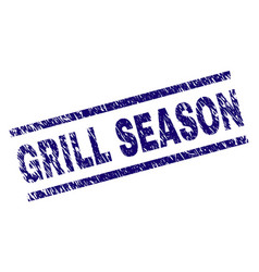 Scratched textured grill season stamp seal vector