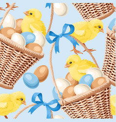 seamless basket with eggs vector image