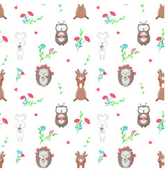 Seamless pattern with cute animals in love vector